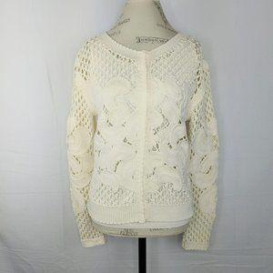 Per Se Cream Cotton Knit Cardigan Sweater